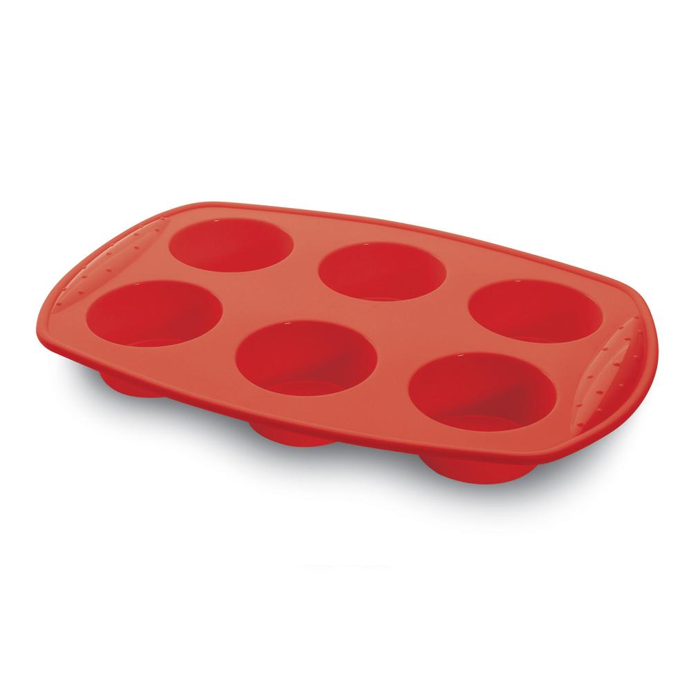 Forma Assadeira para Muffins de Silicone para 6 Muffins Hercules Vermelha