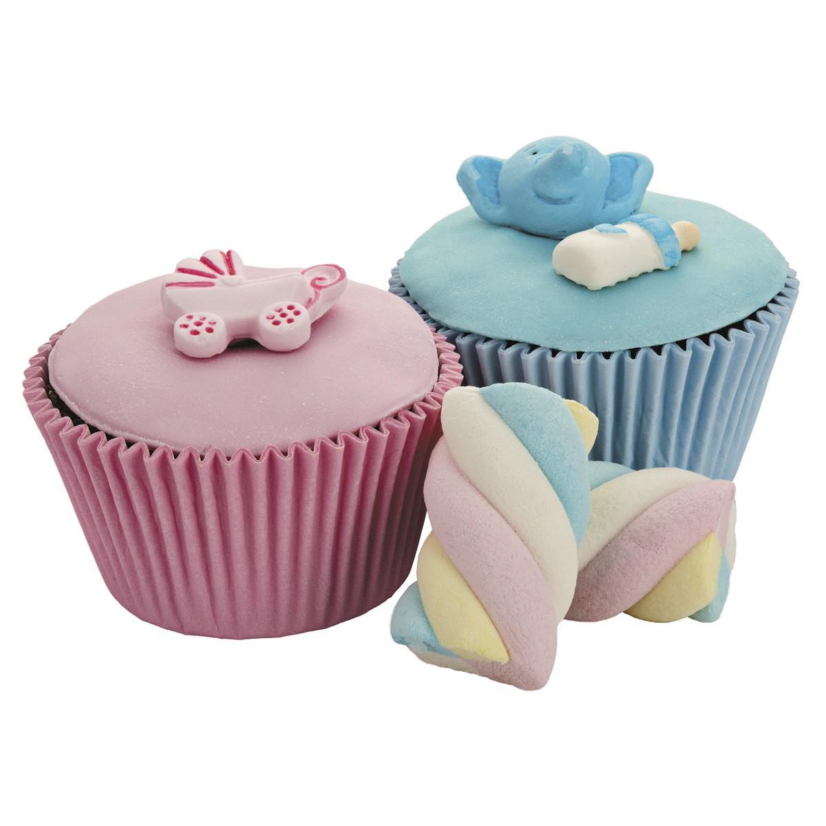 Forma Assadeira para Cupcakes de Silicone Lisa Cinza para 6 Cupcakes