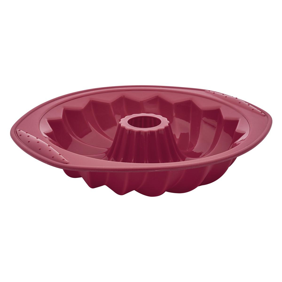 Forma Assadeira 31Cm para Pudim de Silicone Flexível Vermelha