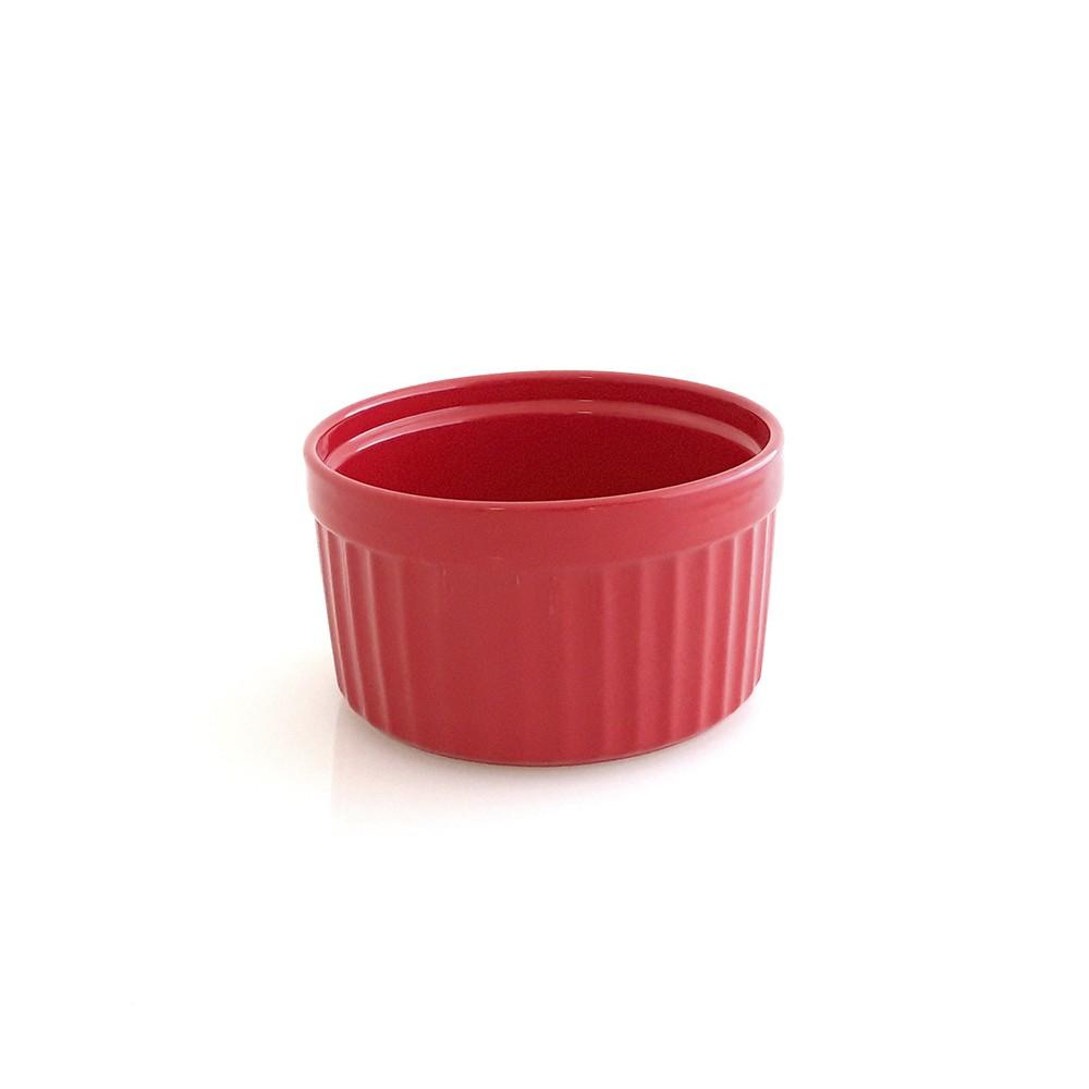 Forma Assadeira para Soufle de Cerâmica para Forno ou Freezer Gourmet Vermelha 14Cm