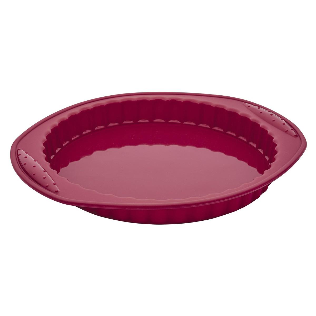 Forma Assadeira 31Cm para Torta de Silicone Flexível Vermelha