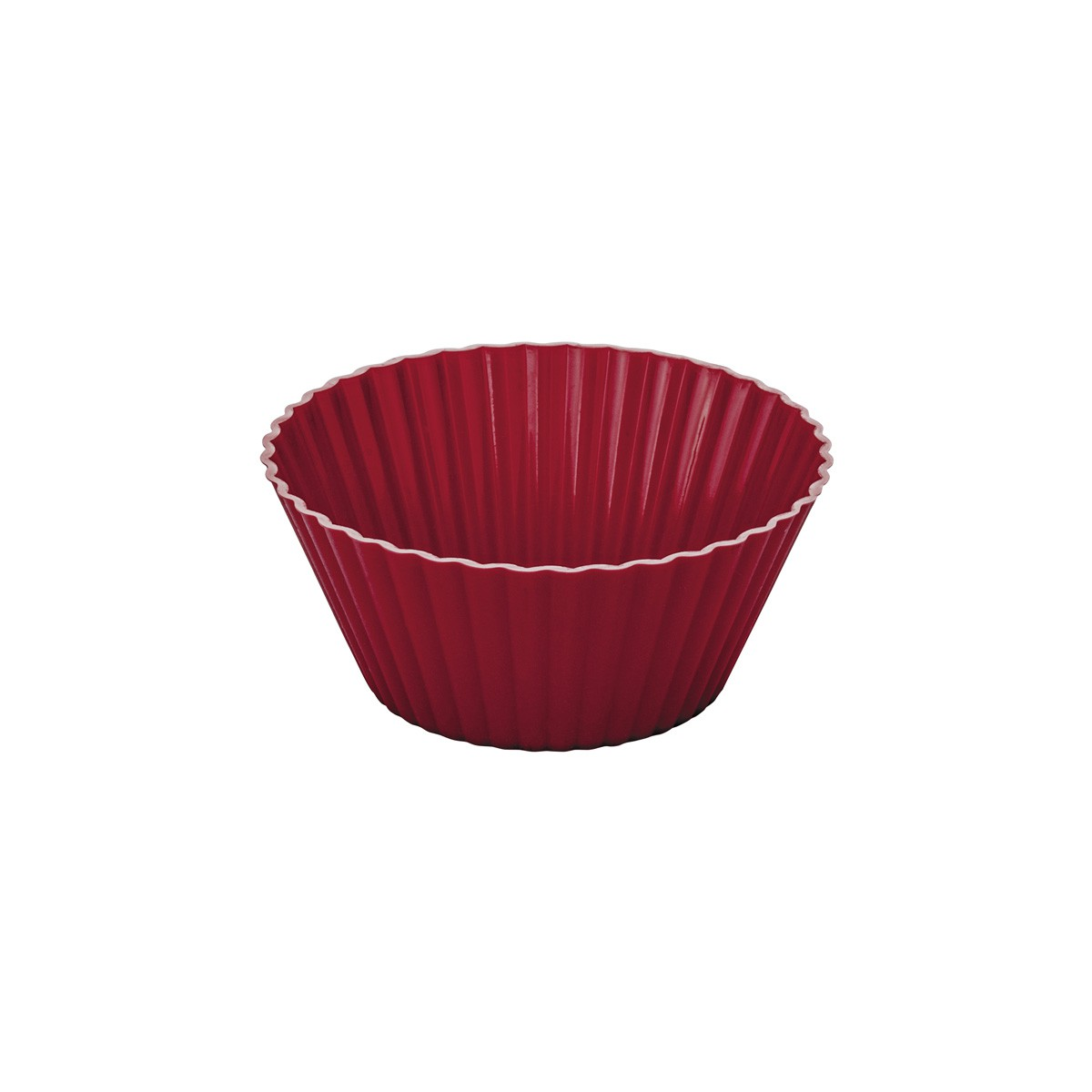 Forma Assadeira para Cupcake com 12 Peças de Silicone Vermelha
