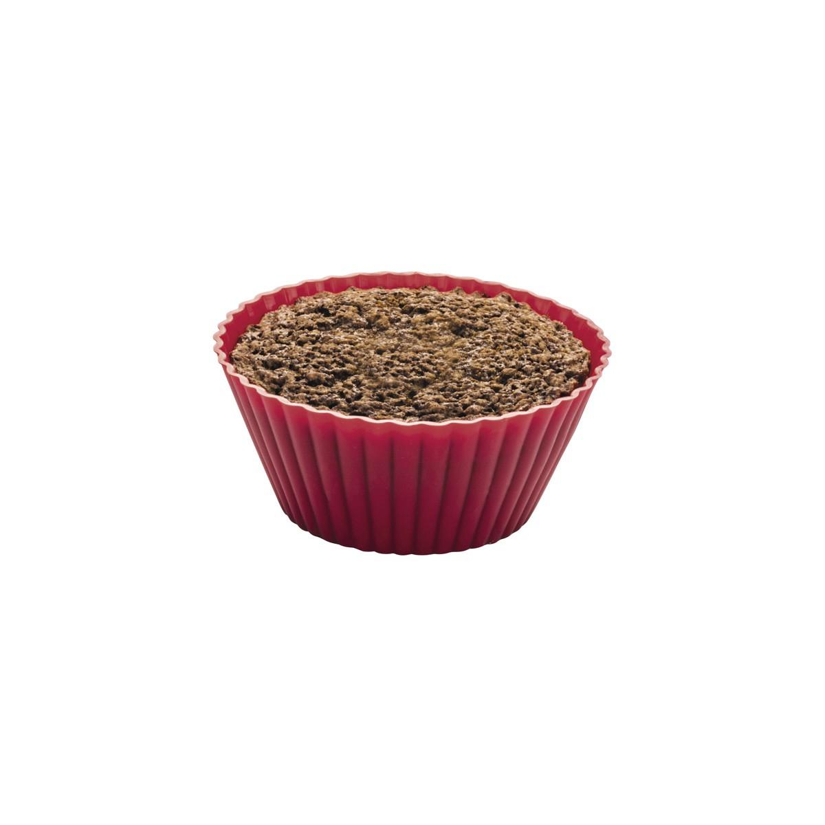 Forma Assadeira para Cupcake 12 Peças de Silicone Vermelha