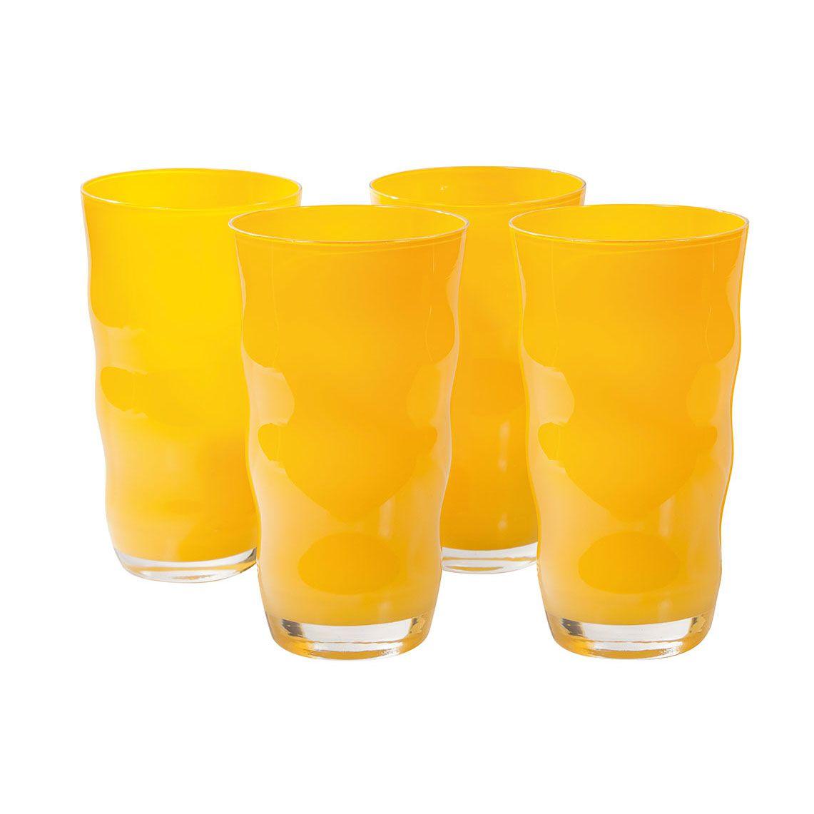 Jogo de Copos com 4 Peças de Vidro 600Ml Amarelo Wave