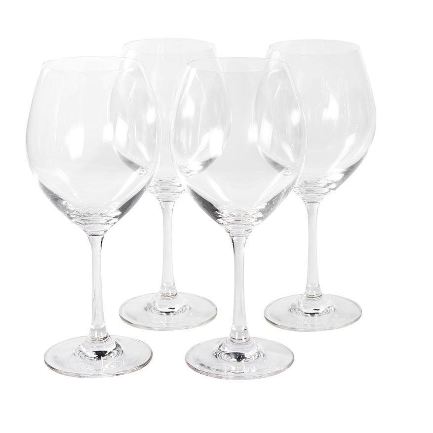 Jogo de Taças de Vidro com Pé para Água Ou Vinho Crystaline 450Ml - 4 Peças