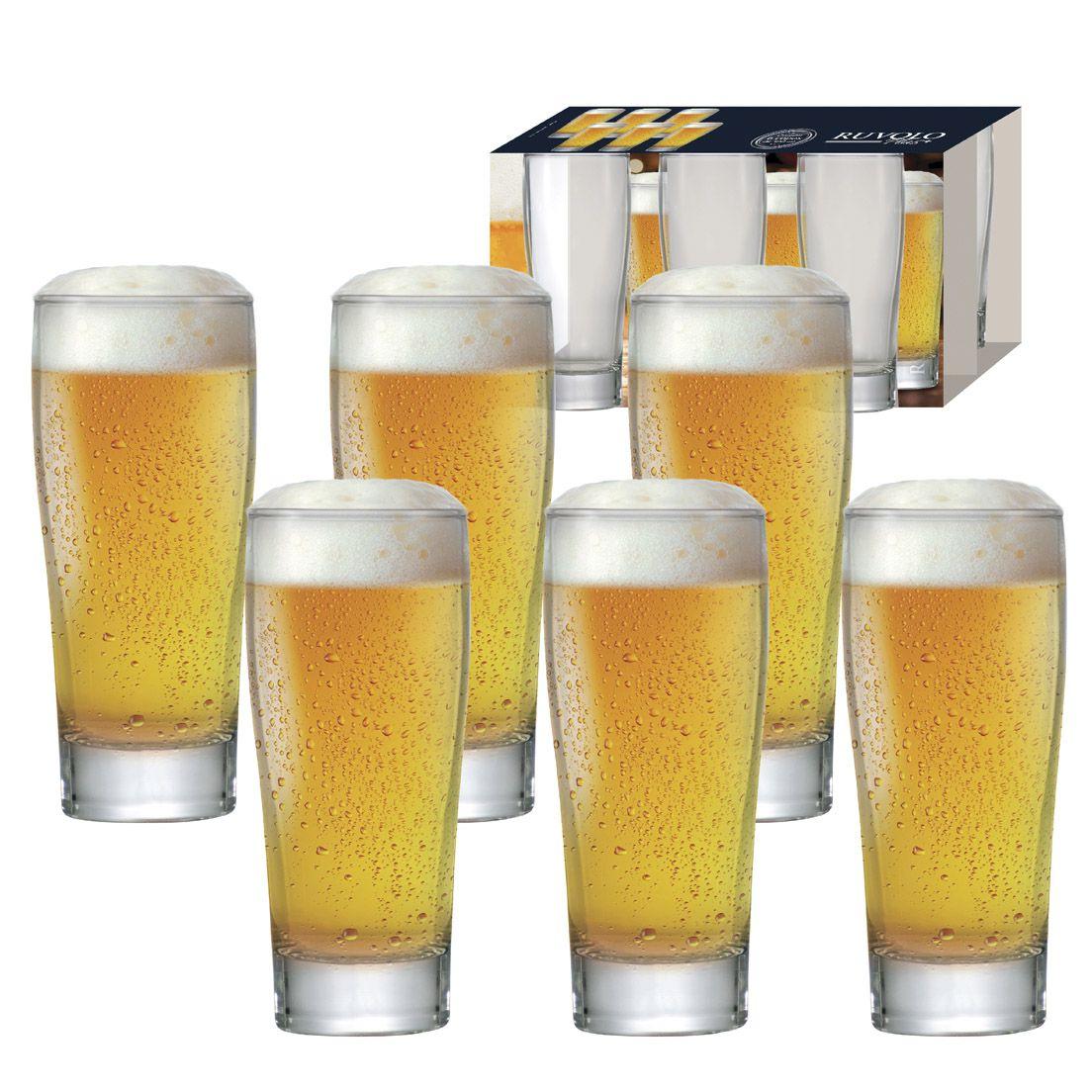 Jogo de Copos 6 Peças de Vidro para Cerveja 200Ml Prime