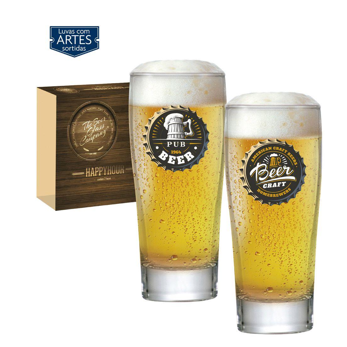 Jogo de Copos com 6 Peças de Vidro para Cerveja 200Ml Prime Happy Hour