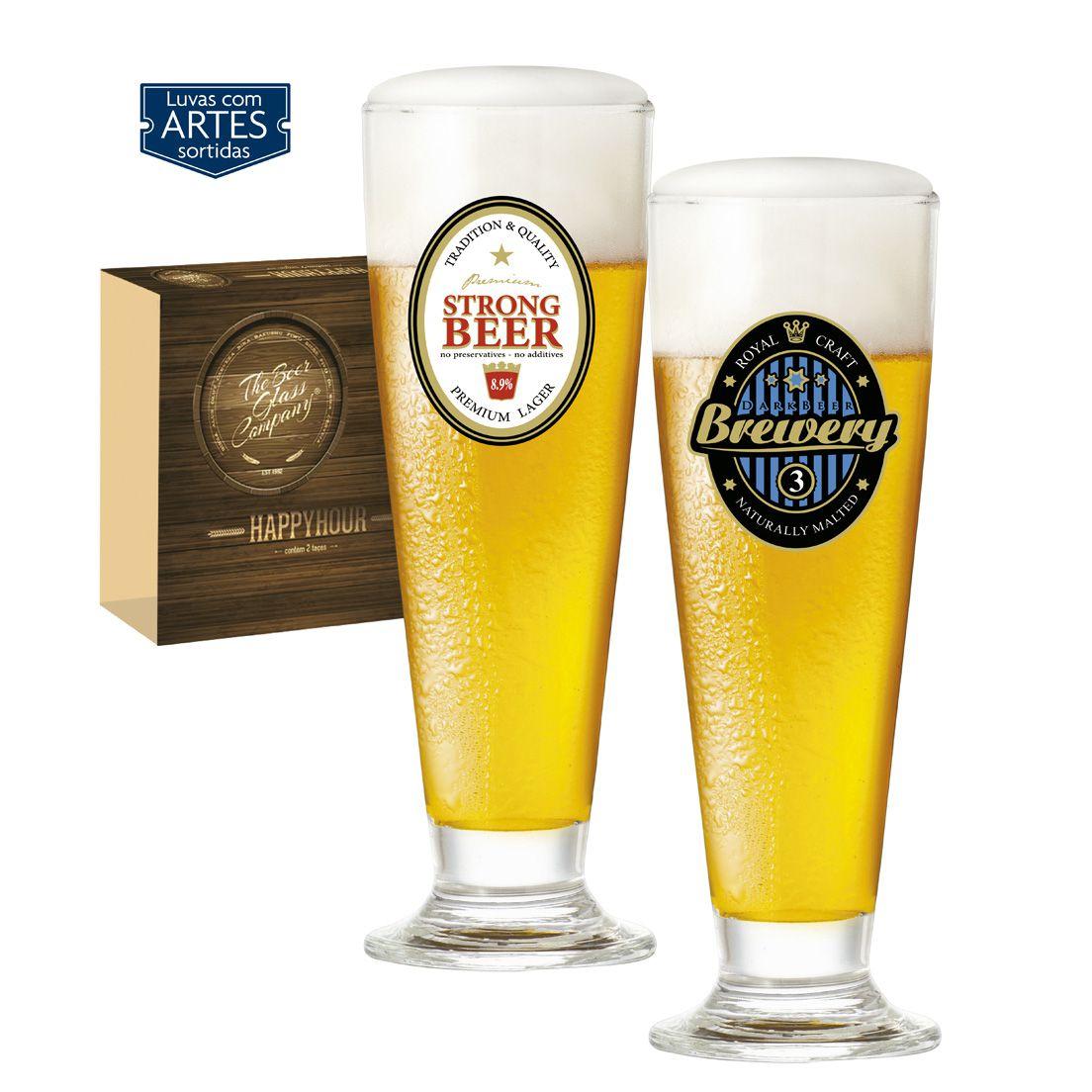 Jogo de Taças 2 Peças para Cerveja de Vidro 300Ml Tulipa Happy Hour