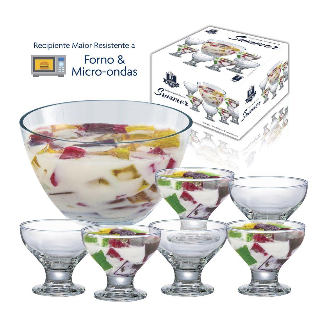 Conjunto para Sobremesa 7 Peças de Vidro 6 Taças e 1 Tigela New Summer Premium