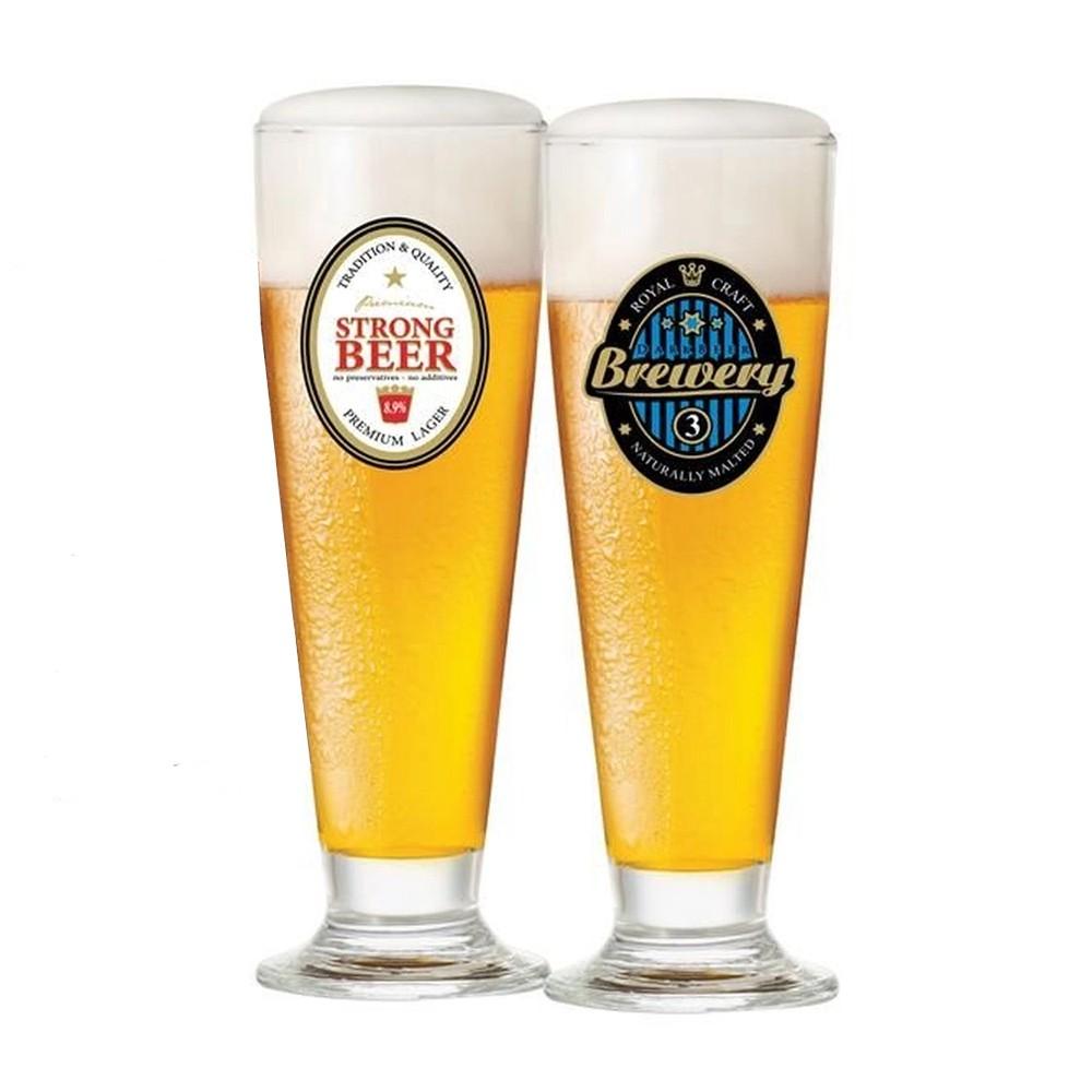 Jogo de Taças para Cerveja com 2 Peças de Vidro 300Ml Tulipa Happy Hour