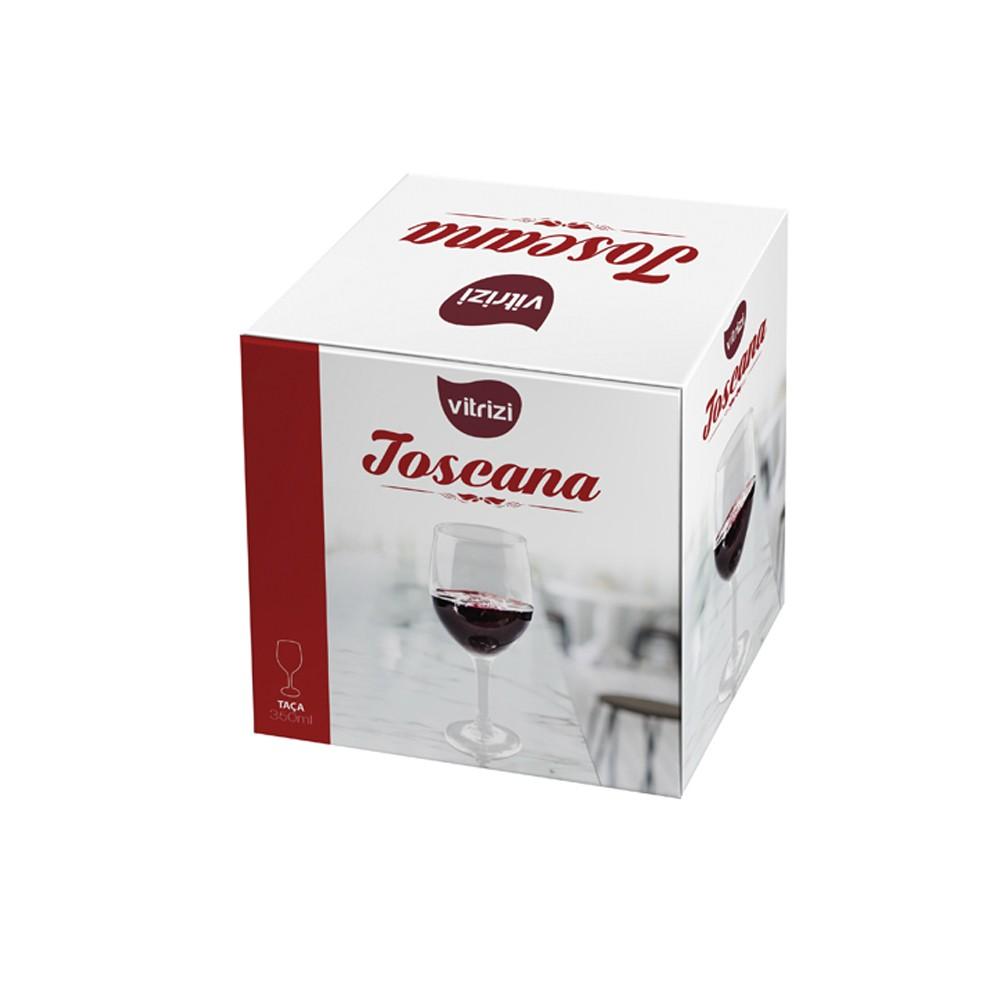 Jogo de Taças 6 Peças para Vinho Tinto de Vidro 350Ml Toscana