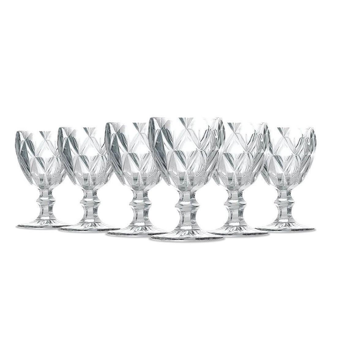 Jogo de Taças para Água com 6 Peças de Vidro 260Ml Diamante Clear