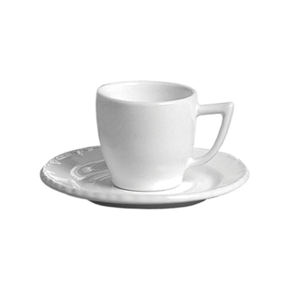 Jogo de Xícaras para Café 12 Peças de Cerâmica 60Ml com Pires Branco Paris