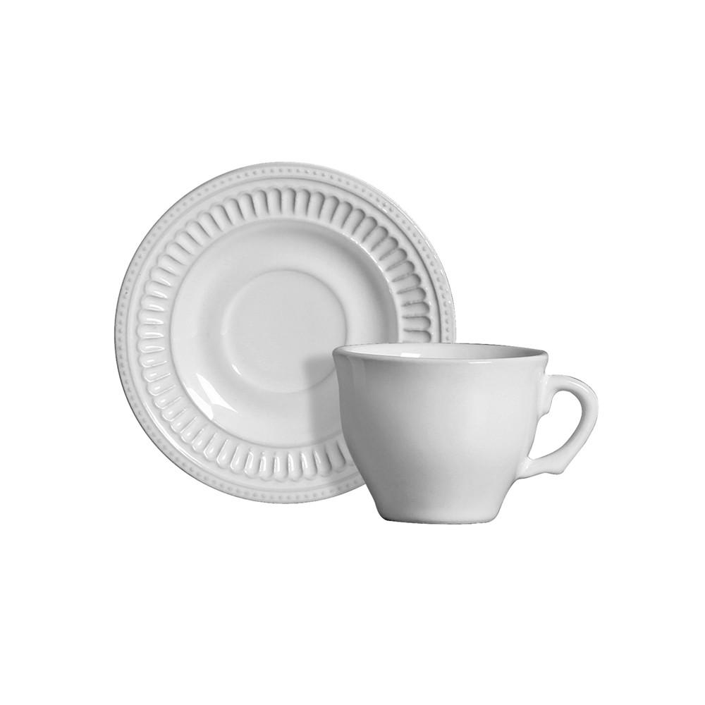 Jogo de Xícaras de Café 12 Peças de Cerâmica com Pires Poppy Branco 100Ml