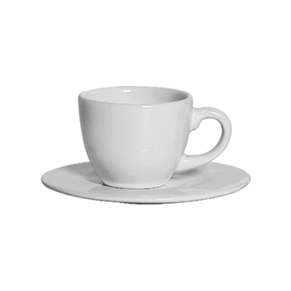 Jogo de Xícaras de Café 12 Peças de Cerâmica com Pires Standard Branco 100Ml