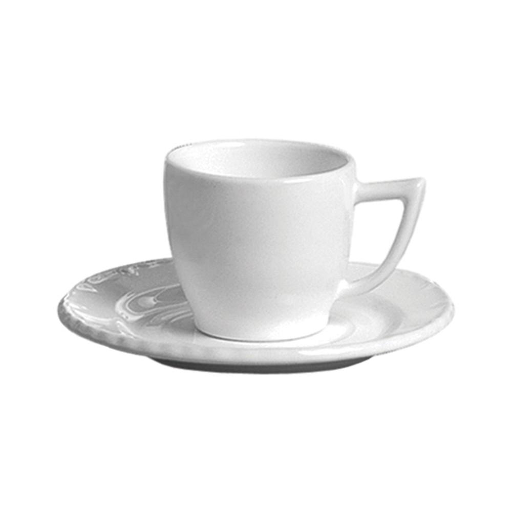 Jogo de Xícaras Scalla Paris 150ml para Chá de Cerâmica com Pires Branco 12 Peças