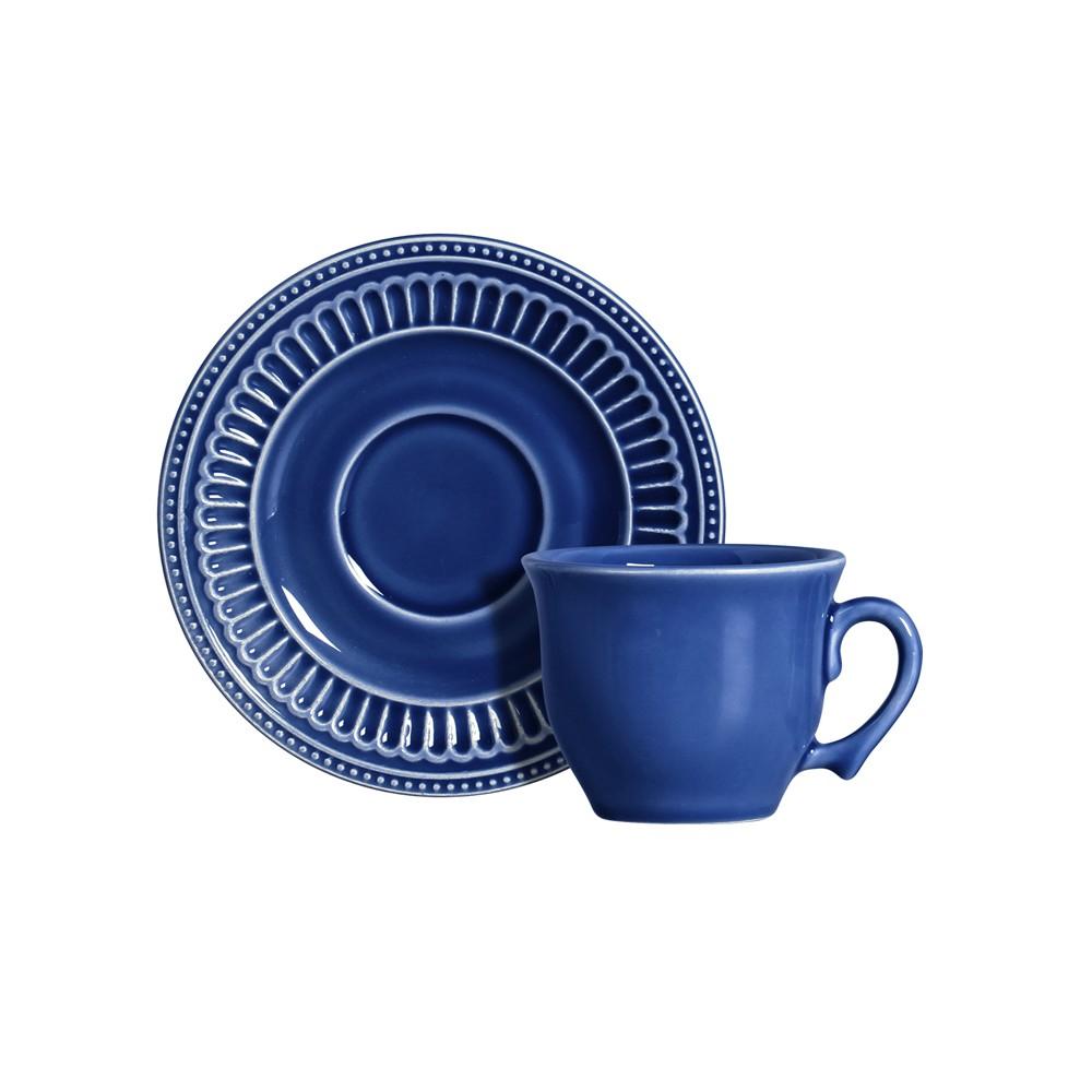 Jogo de Xícaras para Chá 12 Peças de Cerâmica 200Ml com Pires Azul Poppy