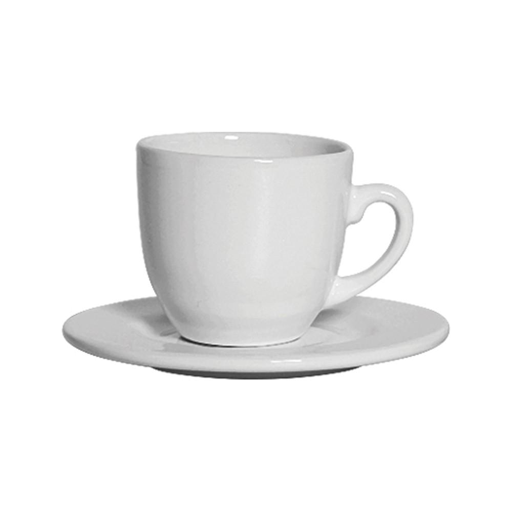 Jogo de Xícaras Scalla Standard 250ml para Chá de Cerâmica com Pires Branco 12 Peças