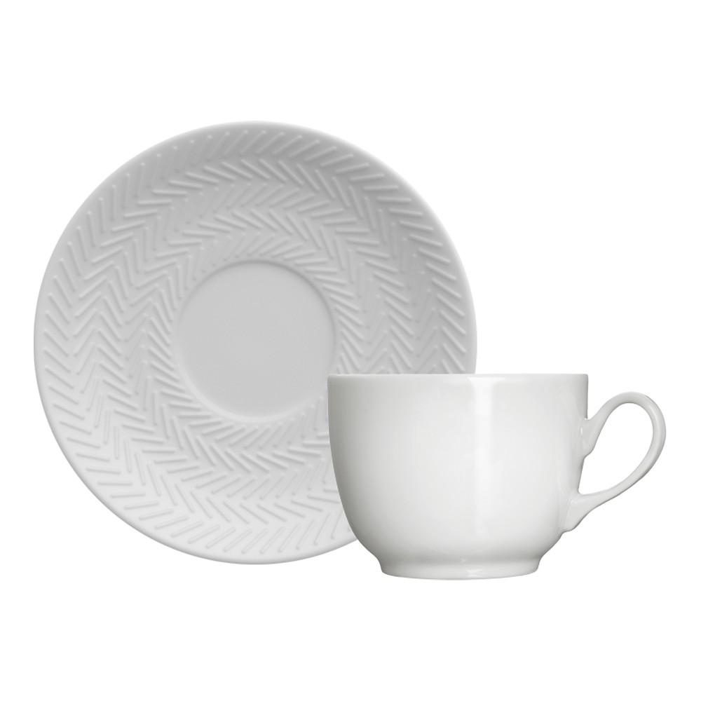 Jogo de Xícaras para Café com 12 Peças de Porcelana 80Ml com Pires Chevron