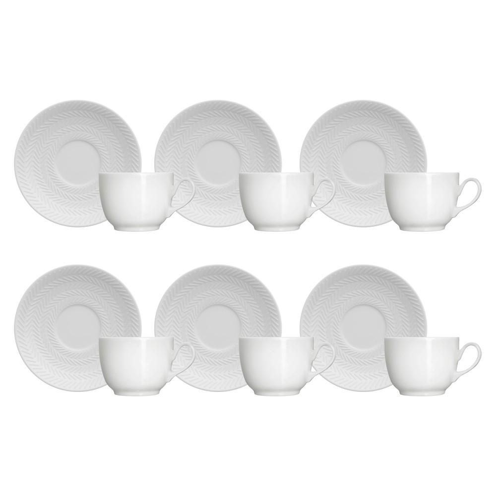 Jogo de Xícaras para Café 12 Peças de Porcelana 80Ml com Pires Chevron