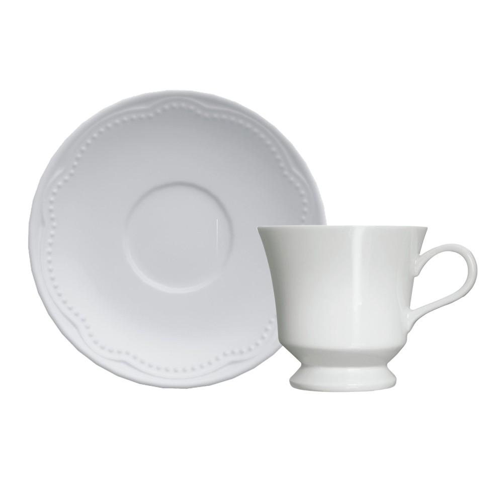 Jogo de Xícaras para Café com 12 Peças de Porcelana 80Ml com Pires Cottage
