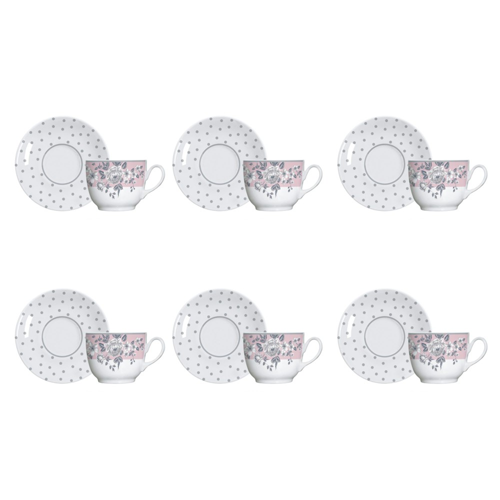 Jogo de Xícaras Germer Paris 75ml de Porcelana para Café com Pires 12 Peças