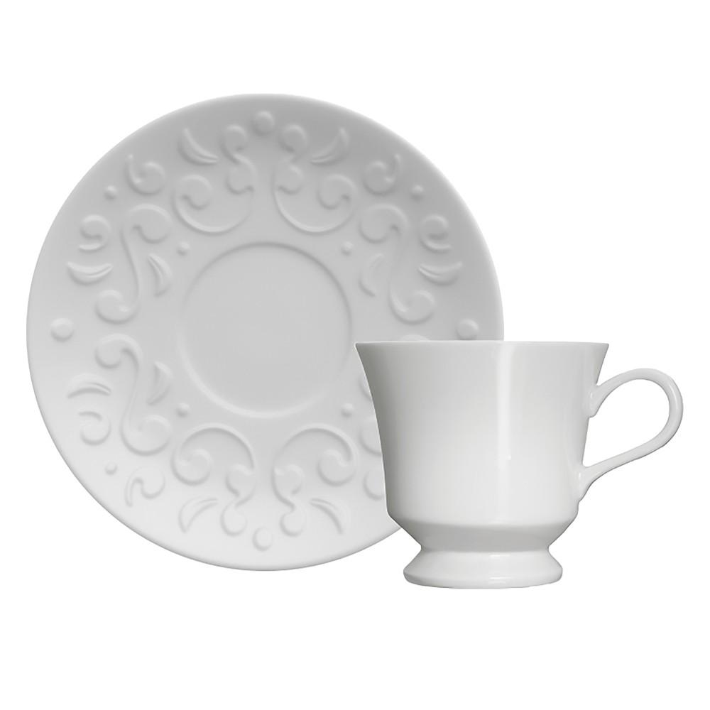 Jogo de Xícaras para Café com 12 Peças de Porcelana 80Ml com Pires Tassel