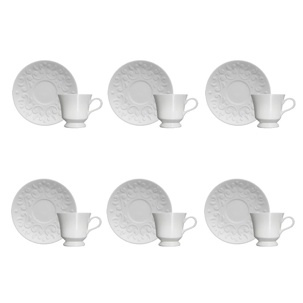 Jogo de Xícaras para Café 12 Peças de Porcelana 80Ml com Pires Tassel