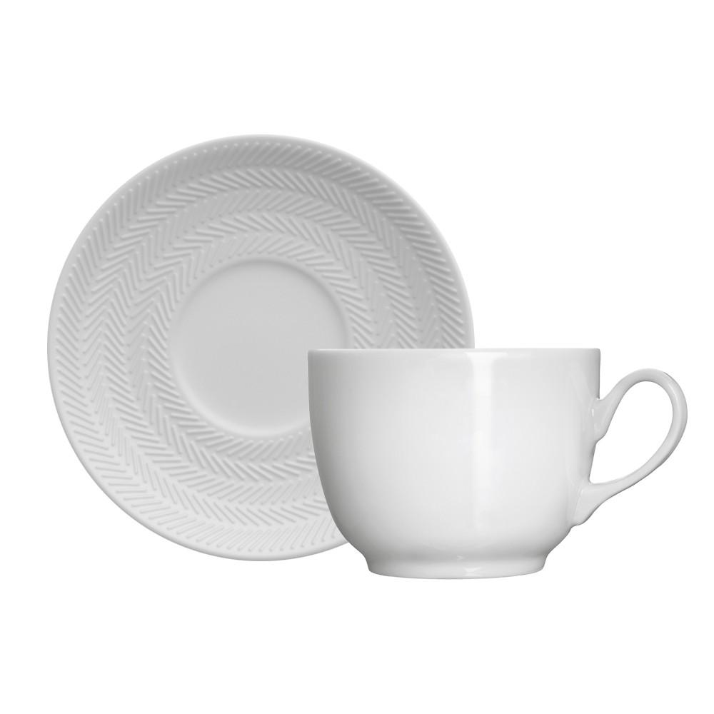 Jogo de Xícaras de Porcelana para Chá com Pires Chevron - 12 Peças