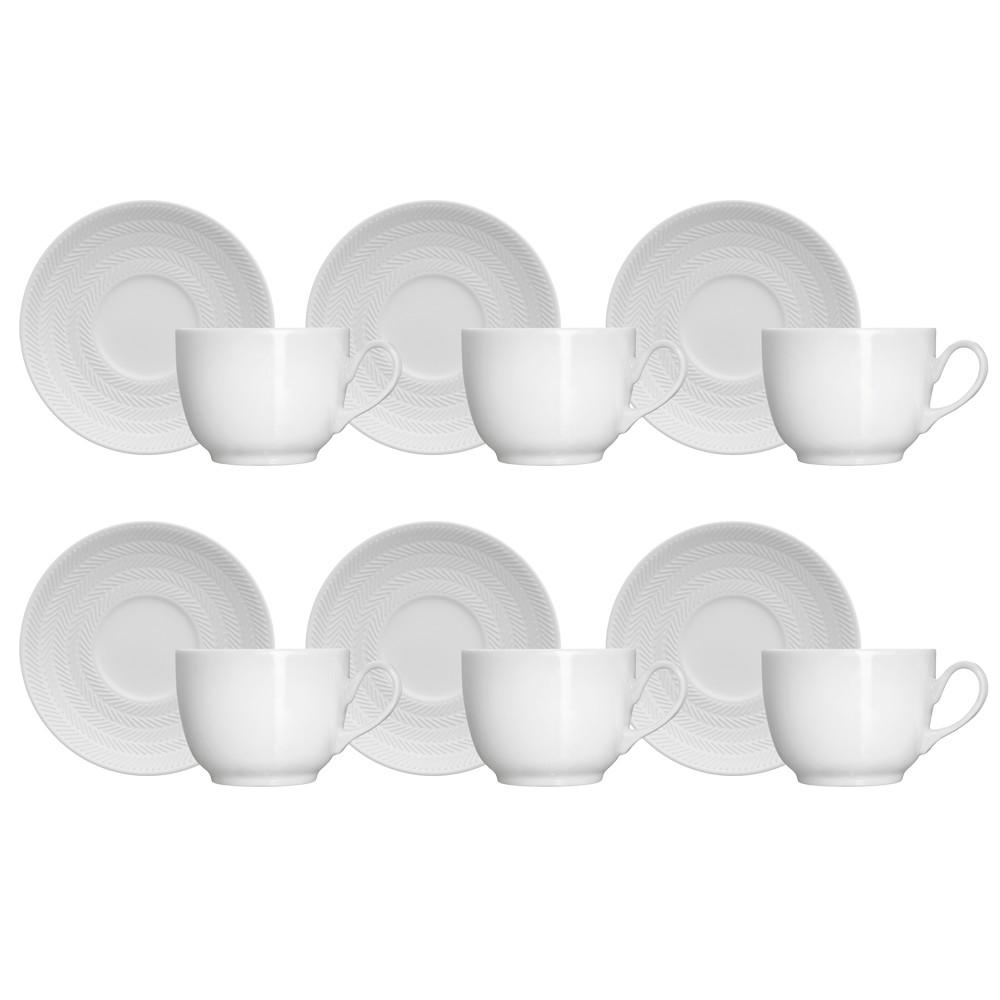 Jogo de Xícaras para Chá 12 Peças de Porcelana 190Ml com Pires Chevron