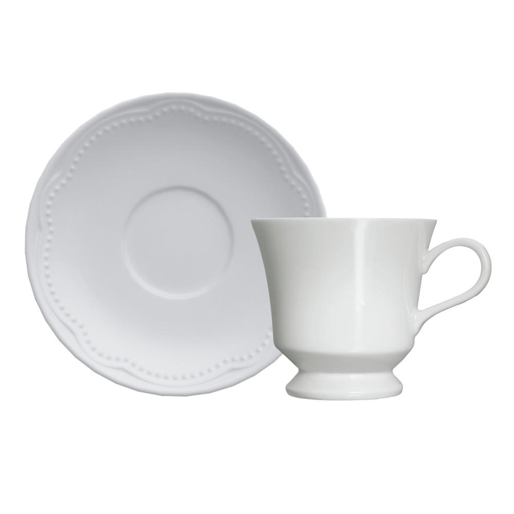 Jogo de Xícaras para Chá 12 Peças de Porcelana 190Ml com Pires Cottage