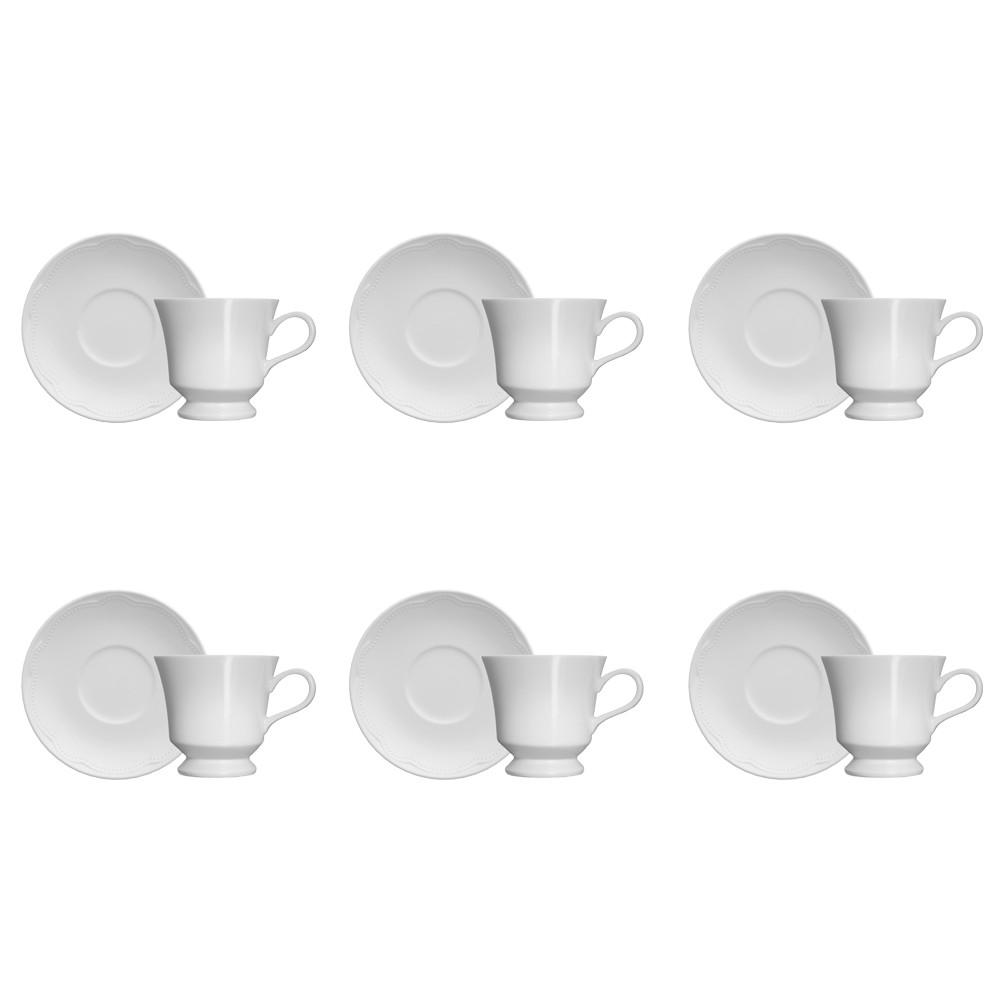 Jogo de Xícaras Germer Cottage 190ml de Porcelana para Chá com Pires 12 Peças