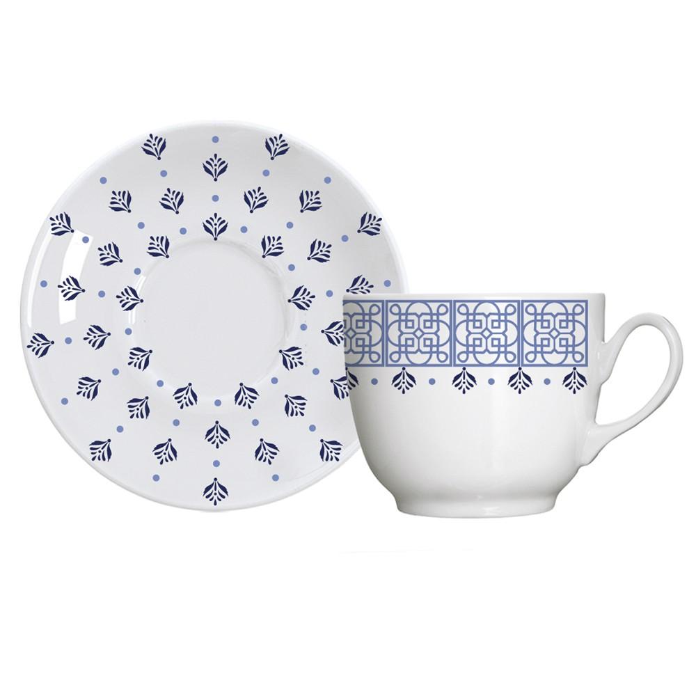 Jogo de Xícaras de Porcelana para Chá com Pires Lisboa - 12 Peças