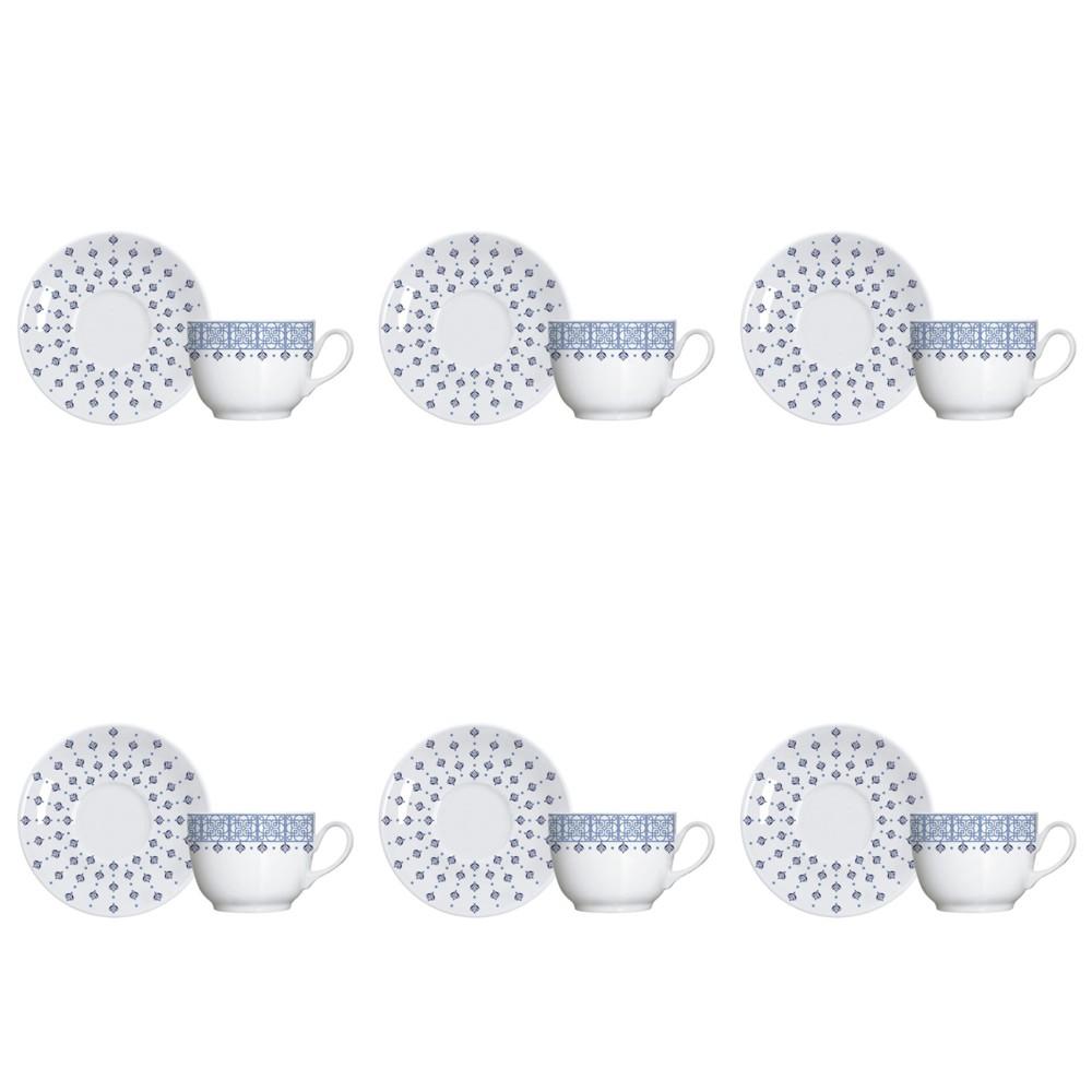 Jogo de Xícaras para Chá 12 Peças de Porcelana 240Ml com Pires Lisboa
