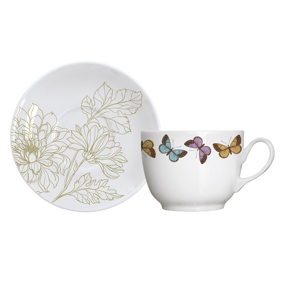 Jogo de Xícaras para Chá 12 Peças de Porcelana 240Ml com Pires Milão