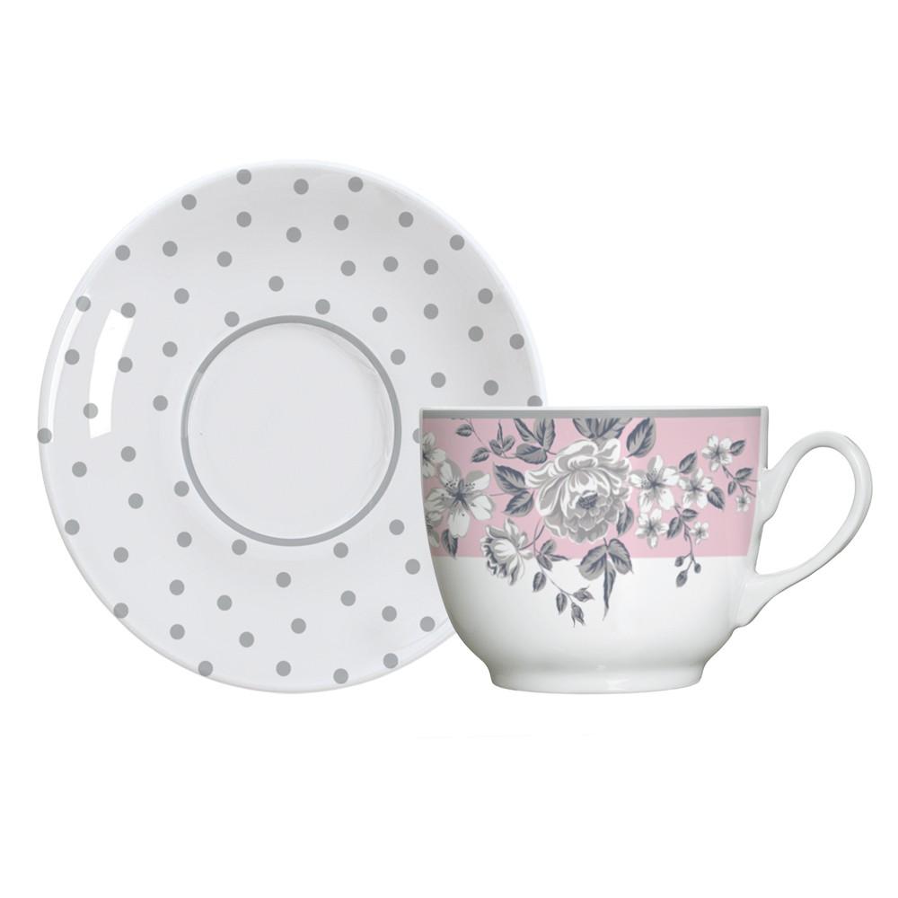 Jogo de Xícaras para Chá 12 Peças de Porcelana 240Ml com Pires Paris