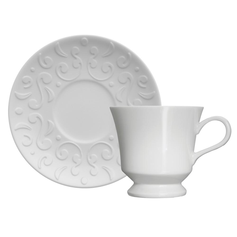 Jogo de Xícaras para Chá 12 Peças de Porcelana 190Ml com Pires Tassel