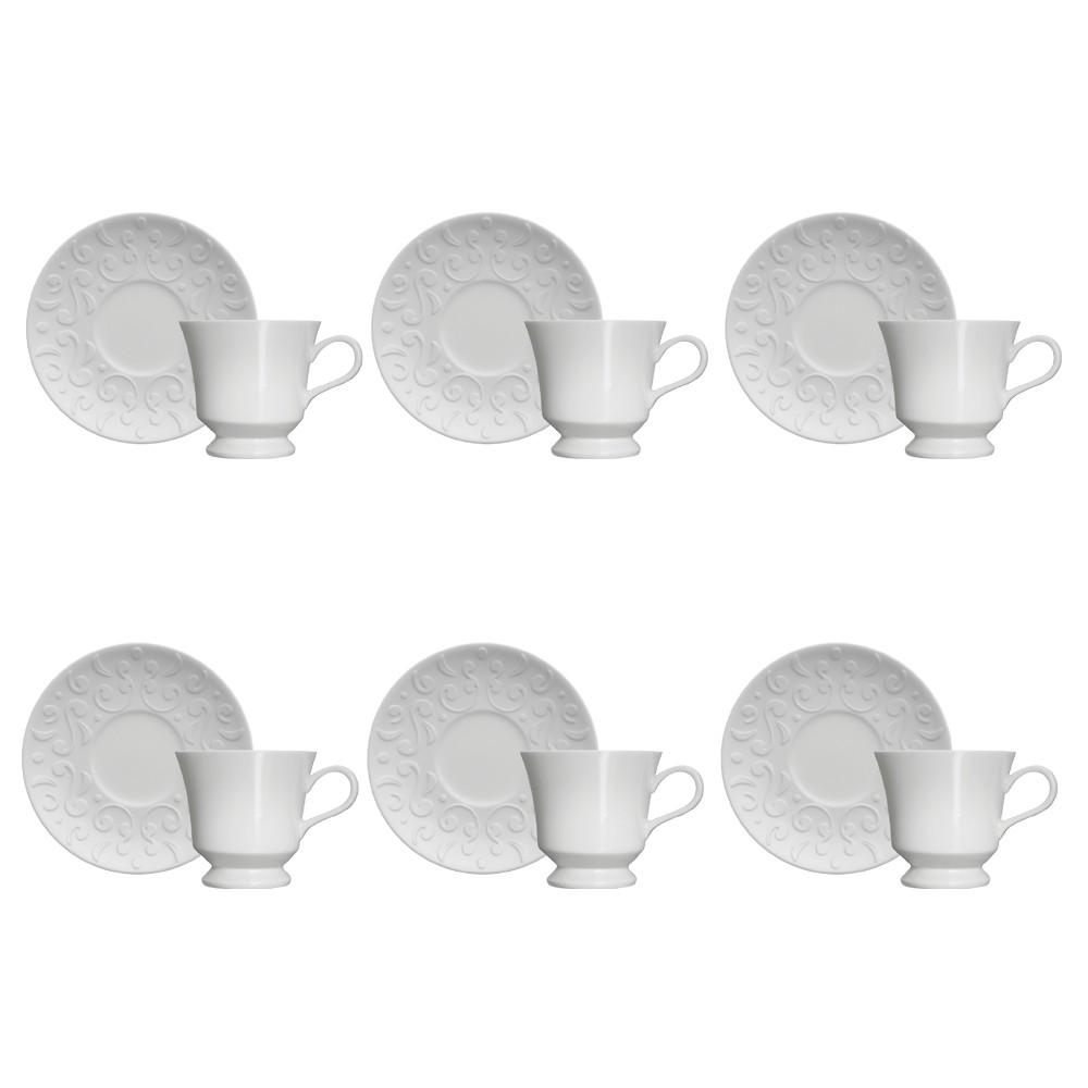 Jogo de Xícaras Germer Tassel 190ml de Porcelana para Chá com Pires 12 Peças