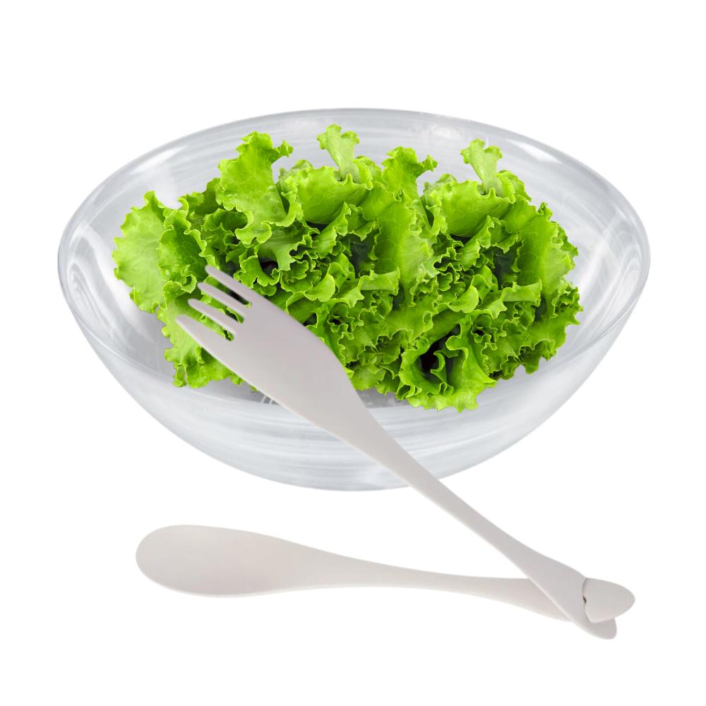 Jogo para Salada com Saladeira de Vidro Nuvem 25,5Cm e Talheres de Nylon Cinza