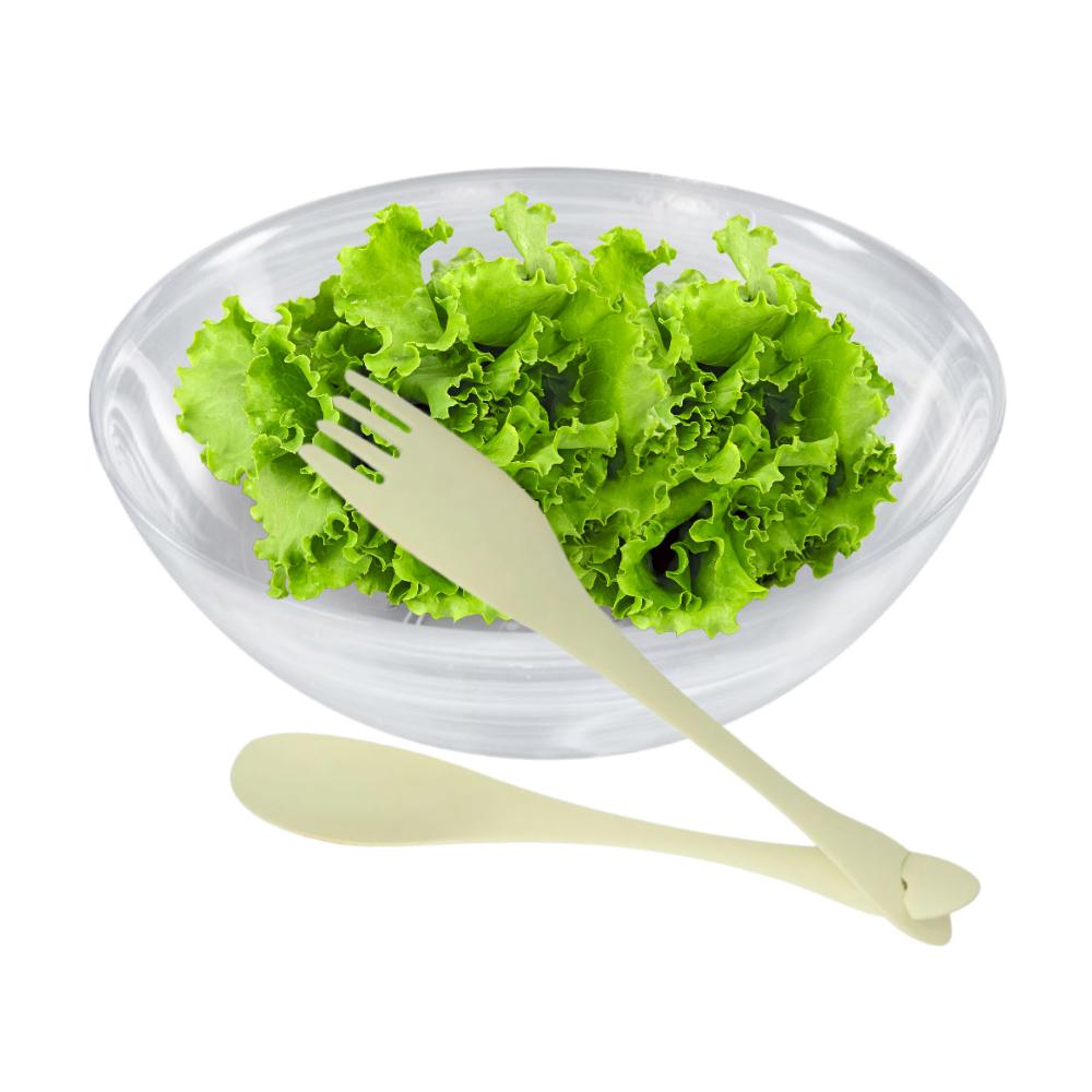 Jogo para Salada com Saladeira de Vidro Nuvem 25,5Cm e Talheres de Nylon Verde Claro
