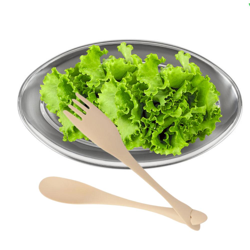 Jogo para Salada com Travessa Oval de Aço Inox 32Cm e Talheres de Nylon Creme