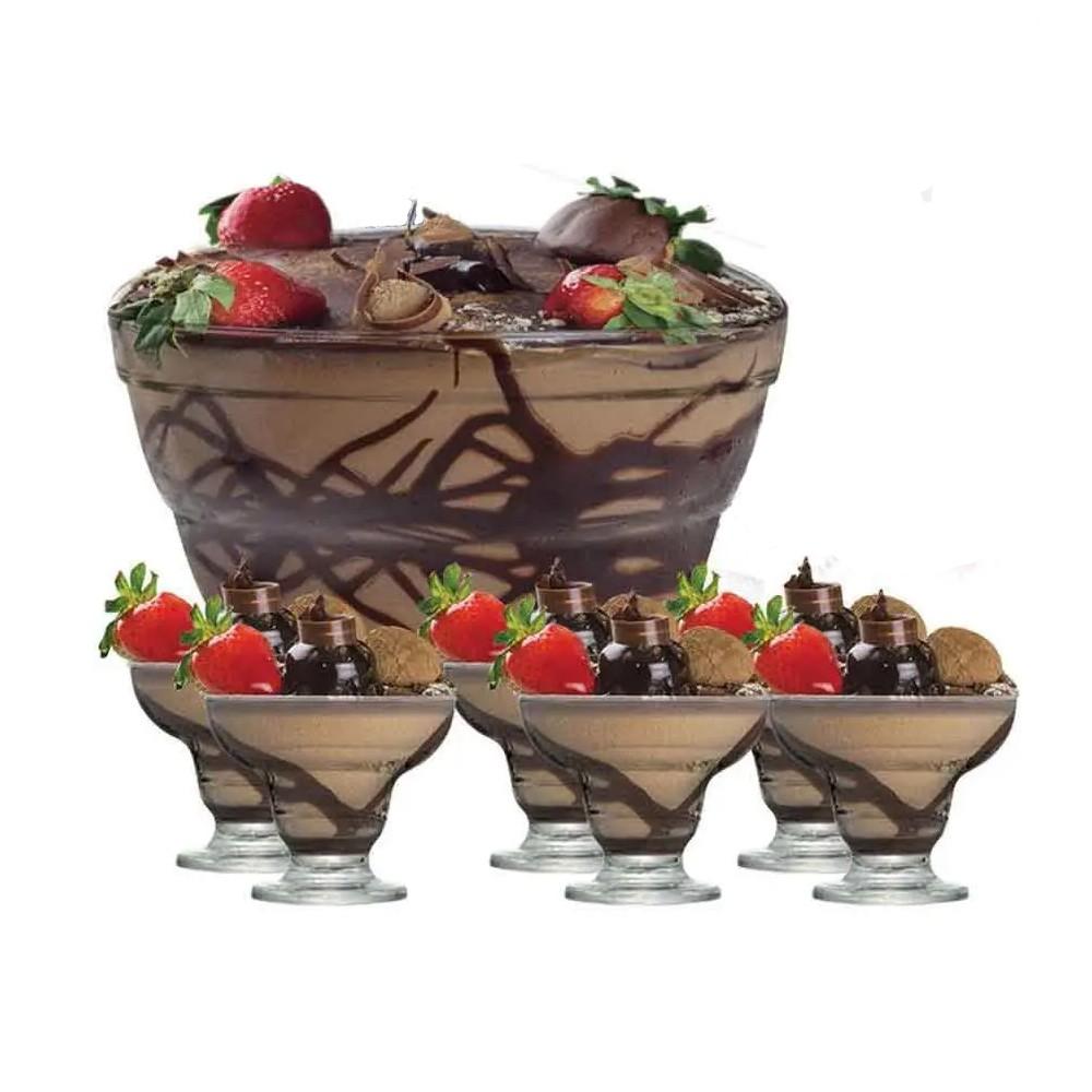 Jogo para Sobremesa de Vidro com 6 Taças para Sobremesa e 1 Tigela New Cancun - 7 Peças