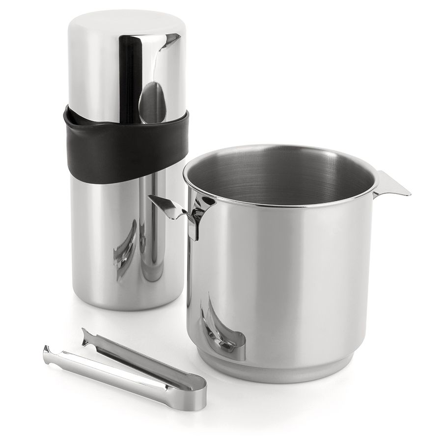 Kit para Caipirinha 3 Peças de Aço Inox 1 Coqueteleira com Coador, Balde de Gelo 1,3L e 1 Pinça para Gelo Bartender