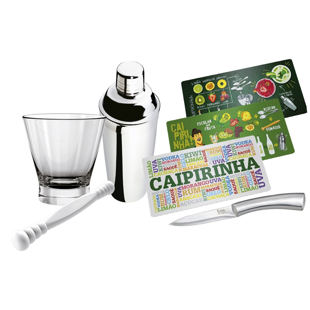 Kit para Caipirinha 5 Peças 1 Coqueteleira de Aço Inox, 1 Tábua, 1 Socador, 1 Copo de Vidro e 1 Faca