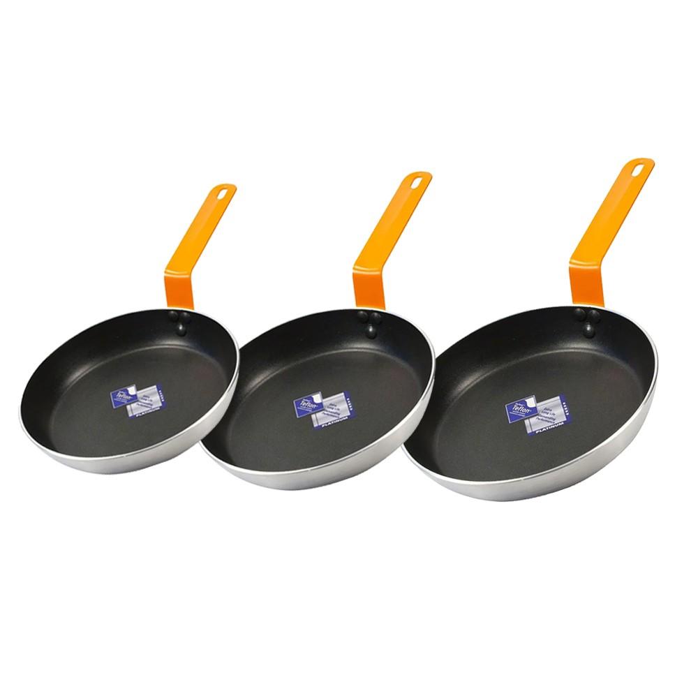 Kit de Frigideiras de Aço Polido 3Mm Teflon Platinum Gourmet Preta Wow 18, 20 e 22Cm