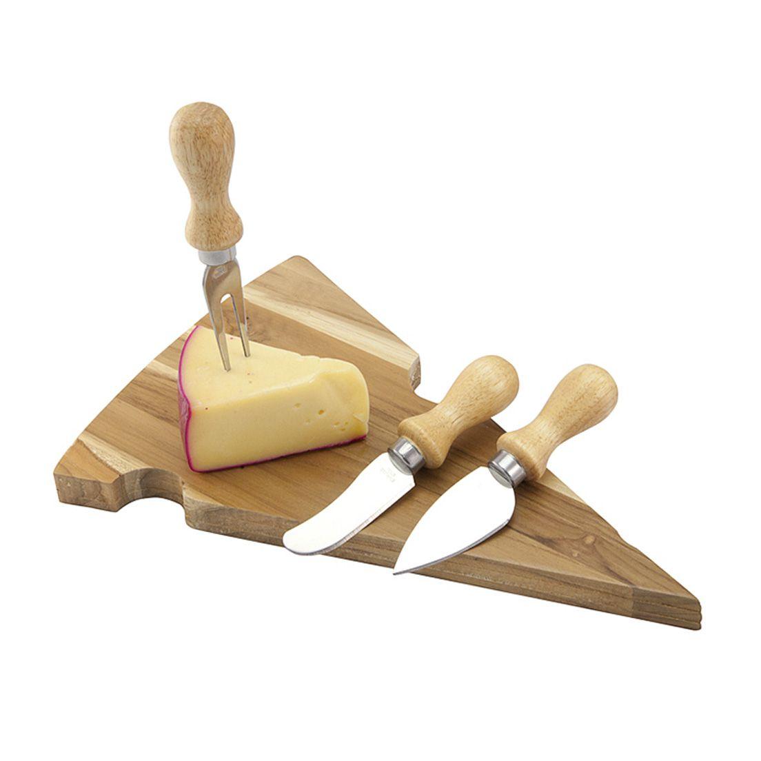 Kit para Queijo 4 Peças de Madeira Teca