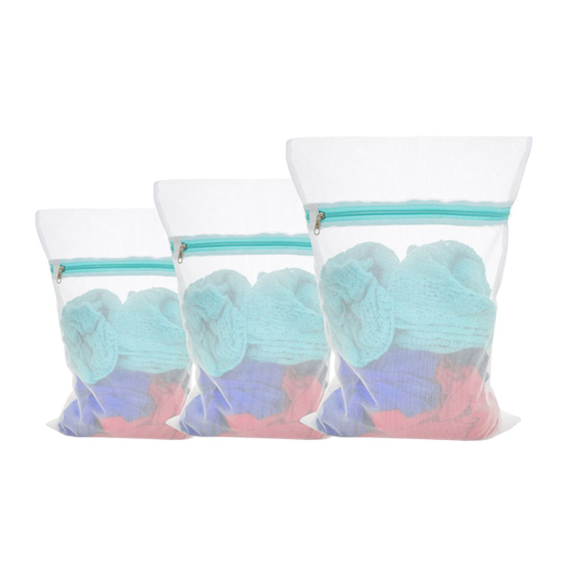 Kit de Saco para Lavar Roupa de Poliester P, M e G Secalux - 3 Peças