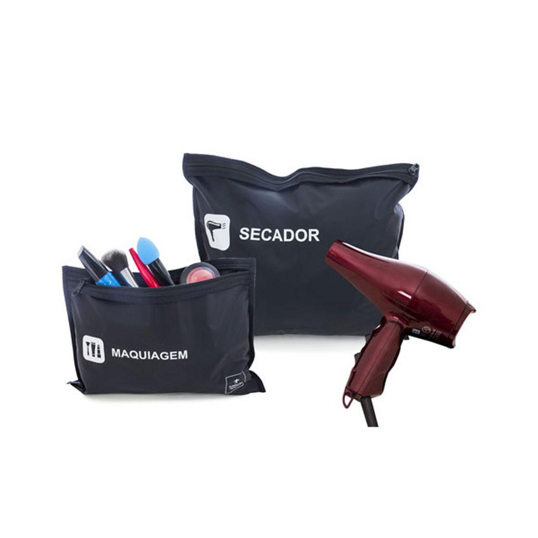 Kit de Viagem para Secador e Maquiagem 2 Sacos de Poliamida