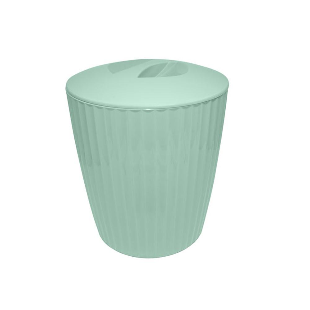 Lixeira para Banheiro de Plástico com Tampa Groove Verde Menta 5L