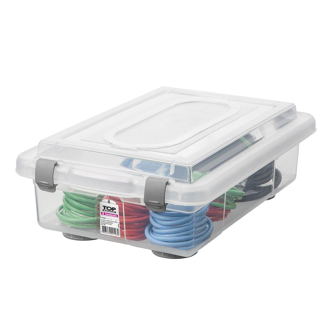 Caixa Organizadora 2,3L de Plástico com Grampos de Fechamento Sanremo Transparente